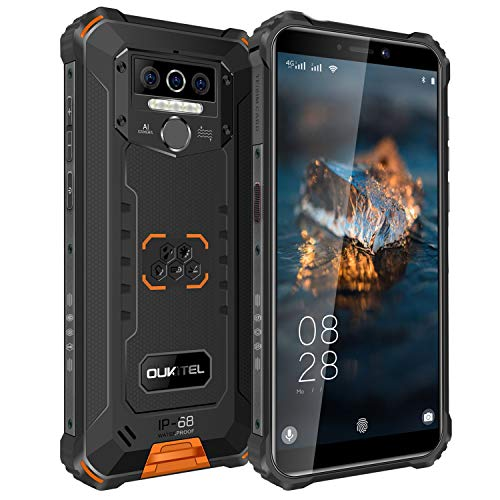 OUKITEL WP5 Rugged Cell Phone IP68Waterproof Dustproof Shockproof 8000mAh Smartphone Android 10.0 Mobile Phone 4GBRAM+32GBROM SONY13MP+5MP Dual AI Camera Face or Fingerprint Unlock One Year Warranty