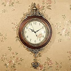 AIDELAI Clock European Style Living Room Watches And Clocks Retro Dimensional Wall Clock Walls Decorations Creative Wall Hanging Solid Wood Pendulum Clock Rural Mute ( Color : #1 )
