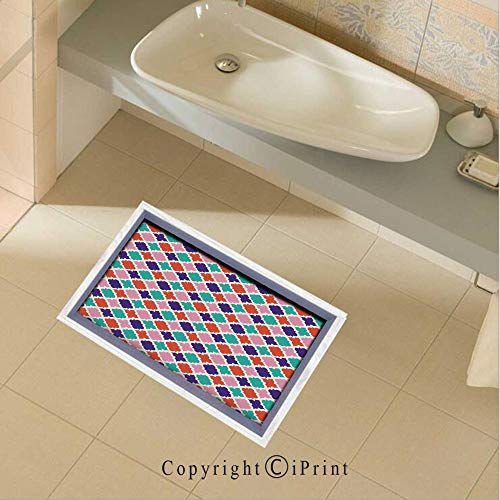 Floor Stickers Colorful Mosaic Tiles Oriental Asian Islamic Ikat Indonesian Patterns Motifs Decorative Home Non-Slip Removable Wall Decals Murals Bathroom Kitchen Home Decor,35.4