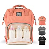 Diaper Bag Backpack for Baby Care, Multi-Functional Baby Nappy Changing Bag with Insulated Pockets, Waterproof Fabric, Large Capacity,Orange