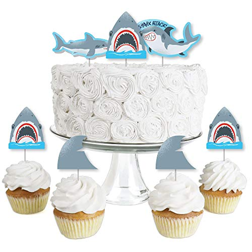 (Big Dot of Happiness Shark Zone - Dessert Cupcake Toppers - Jawsome Shark Week Party or Birthday Party Clear Treat Picks - Set of 24)