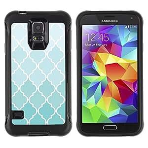Suave TPU Caso Carcasa de Caucho Funda para Samsung Galaxy S5 SM-G900 / Wallpaper Light Blue White Pattern Design / STRONG