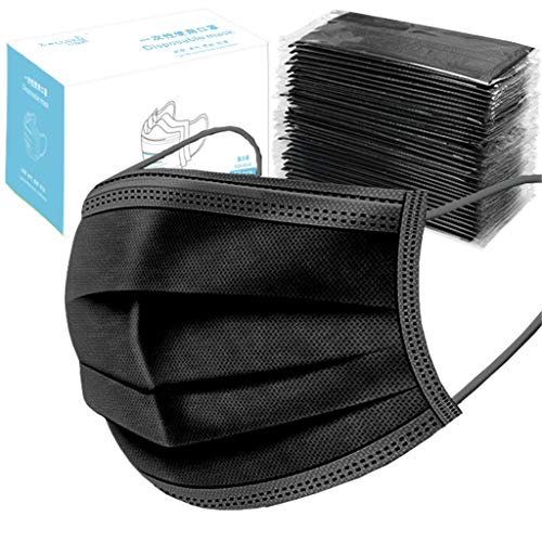 Individually Wrapped Disposable Black Face Bandana- 50 Pack - Soft on Skin - 3 Ply Protectors with Elastic Earloops -Non Woven Protection (50 PC, Black)