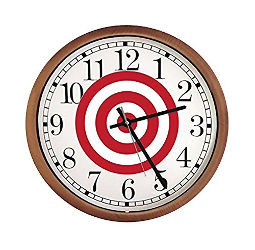New Espresso/Cappuccino Finish Round Wall Hanging Clock featuring Target Bullseye Themed (Target Wood Clock)
