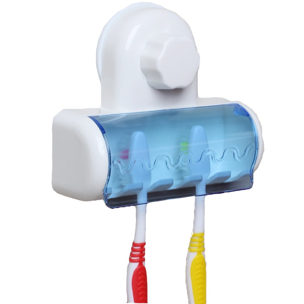 Suction Toothbrush Holder with Cover (White and Blue)