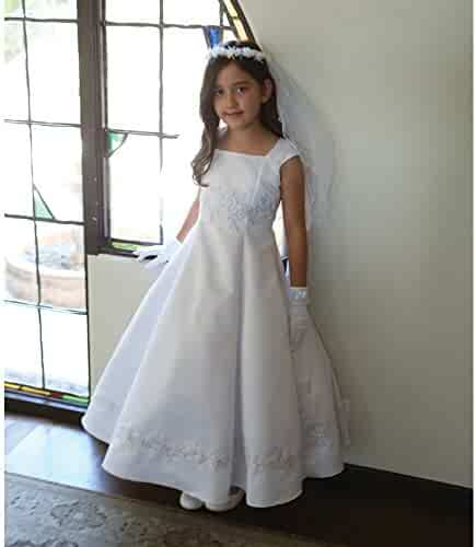 0006bea7e3b Angels Garment Big Girls White Embroidered Appliques Communion Dress 7-18