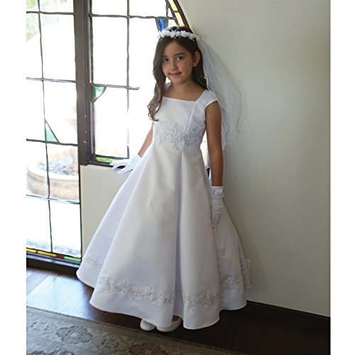 Angels Garment Big Girls White Embroidered Appliques Communion Dress 16. by Angels Garment