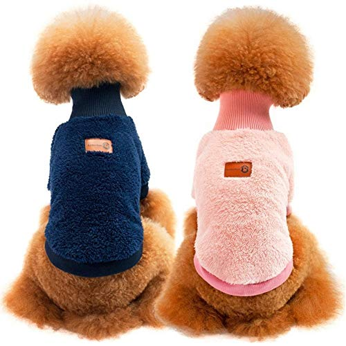 Stock Show Pet Winter Clothes Dog Cat Coral Cashmere Cute Solid Color Warm Soft High Collar Pullover Sweater Coat…