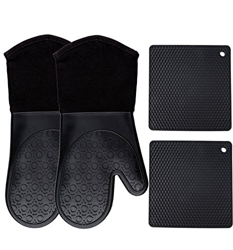 (Homwe Silicone Oven Mitts and Potholders (4-Piece Sets), Kitchen Counter Safe Trivet Mats | Advanced Heat Resistant Oven Mitt, Non-Slip Textured Grip Pot Holders(Black))