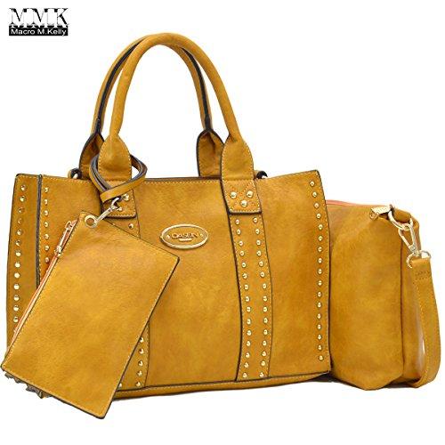 MMK Collection Fashion~classic~Fall & winter color handbag~3 set bags with Satchel~wallet~Crossbody handbag (MA-13-0620W-Tan)