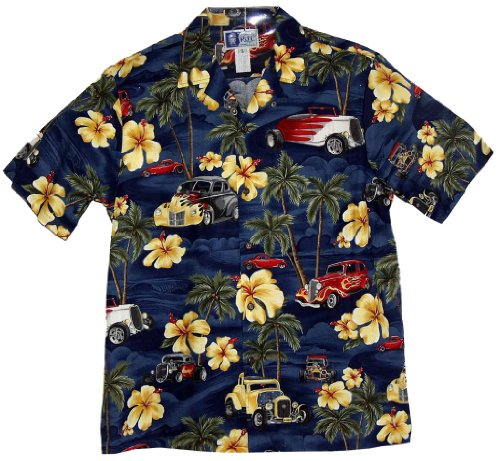 - Hot Rod and Hibiscus Hawaiian Shirts - Mens Hawaiian Shirts - Aloha Shirt - Hawaiian Clothing - 100% Cotton Navy Large