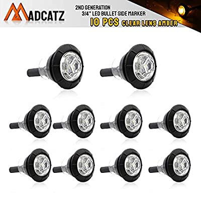 (Pack of 10) Meerkatt Amber Lights (Clear Lens) 1 LED 3/4 Inch Mini Round Bullet Side Marker Trailer Lights Clearance Indicator 12V DC Sealed Waterproof Universal Trailer Bus Boat Truck RV Pickup ATV: Automotive