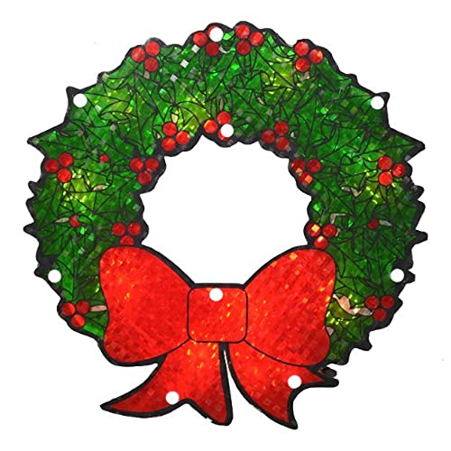 northlight lighted holographic berry wreath christmas window silhouette decoration 11 - Holographic Christmas Decorations