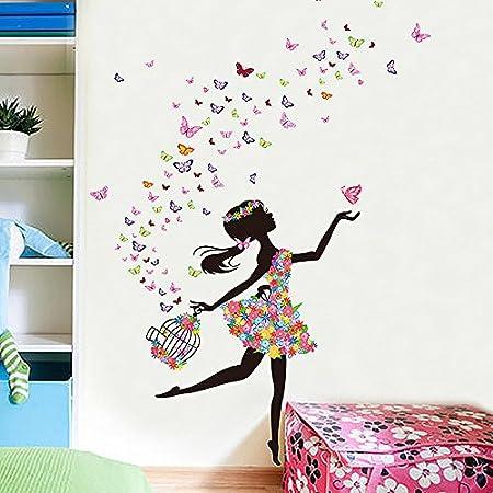 Love and Romantic Flower Fairy Wall Decal Beautiful Women Butterflies Wall  sticker mural home decor (dancing girl)  Energy Class A+++  794619149