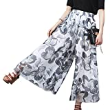 Flygo Women's Flowy Chiffon Pleated High Waist Floral Printed Wide Leg Palazzo Pants (One Size, White)