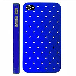 Blue Luxury Stars Bling Crystal Diamond Apple Iphon 4, 4s at&t. Verizon, Sprint, C Spire Case Cover Hard Phone case Snap-on Cover Rubberized Frosted Matte Surface Hard Shells
