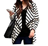 Atree Women Casual Cardigan Striped Long Sleeve Fashion All-Match Coat Jacket Black+White S