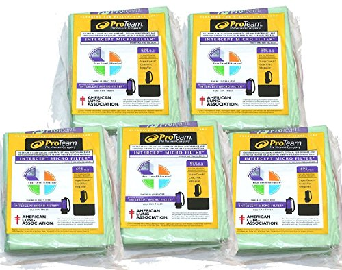ProTeam 10 qt Backpack Bags - 5 Pack Bundle (100331) (10 Bag Vacuum Backpack Quart)