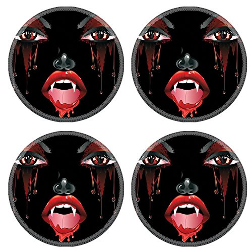 Female Vampire Makeup (Luxlady Natural Rubber Round Coasters IMAGE ID: 37120024 Abstract female vampire face with festival eye makeup and red lips)