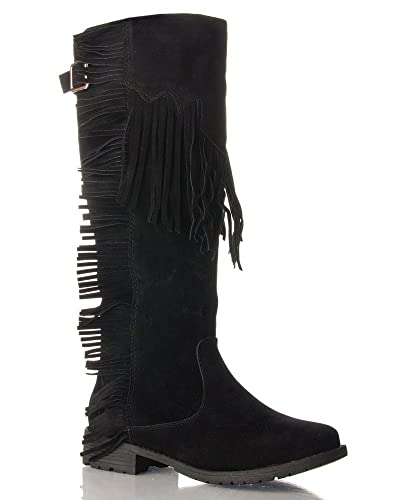 8e2fc6f34b56 Nature Breeze Fringe Moccasin Flat to Low Heel Knee High Boots Black Suede  (6)