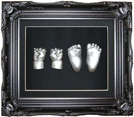 Anika-Baby Kit de moulage pour pieds et mains de bébé avec cadre vintage et peinture métallique Noir/argenté Taille L 29,2 x 24,1 cm: Amazon.es: Bebé