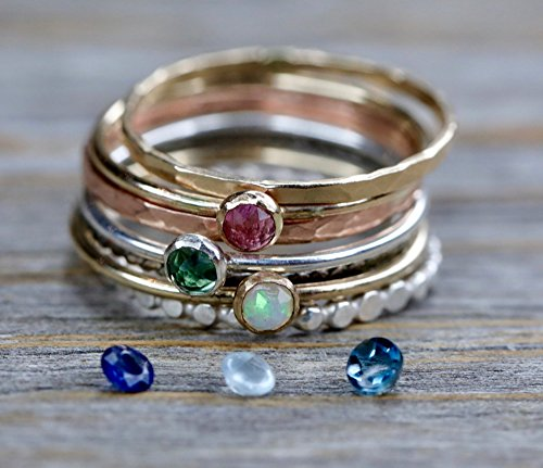 Genuine Emerald Gemstone Ring Birthstone Gemstones Diamond Set of 5 Mixed Metal Rings