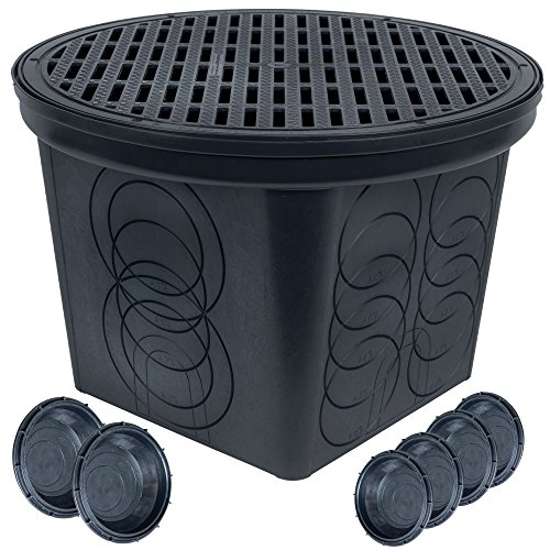 Square Catch Basin - StormDrain FSD-3017-20BKIT-6 20 in. Large Round Catch Basin with Black Grate Kit