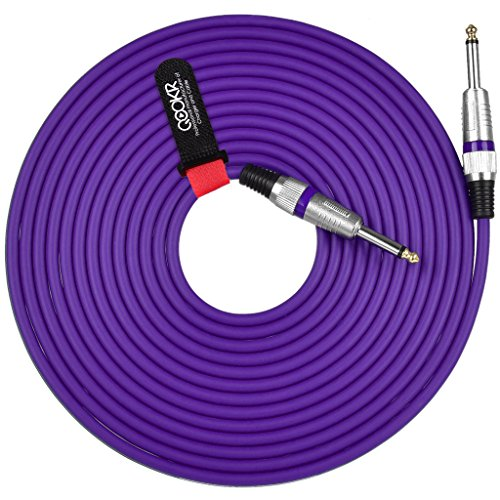 QOOKR 20ft Male to Male Straight 1/4'' TS Color Instrument Cable for Electric Guitar,Bass,Keyboard(20 Feet,Purple) by QOOKR