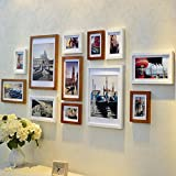 Home@Wall photo frame Modern Home Wood Photo Frame Sets Of 12 , Living Room Bedroom Sofa Background Hanging Paintings Aisle Corridor Photo Frame Combination ( Color : F , Size : 12frames/17569CM )
