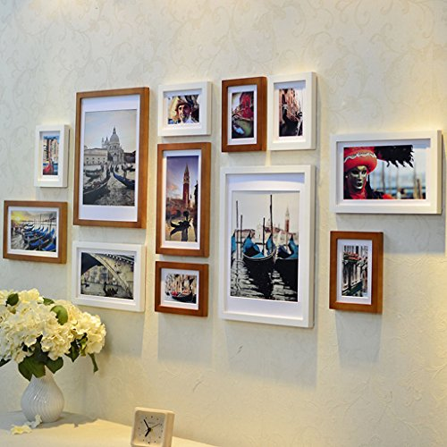 Home@Wall photo frame Modern Home Wood Photo Frame Sets Of 12 , Living Room Bedroom Sofa Background Hanging Paintings Aisle Corridor Photo Frame Combination ( Color : F , Size : 12frames/17569CM ) by ZGP
