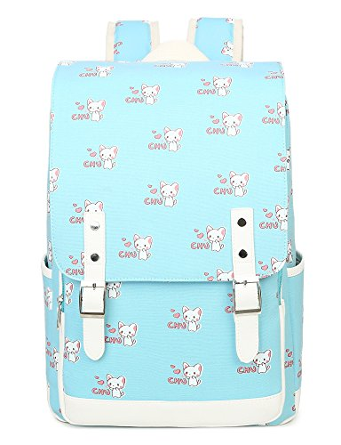 (Cute Cat Laptop Backpack Bookbags School Bags Travel Daypack College Bag Shoulder Bag by VOLINER Light Blue)
