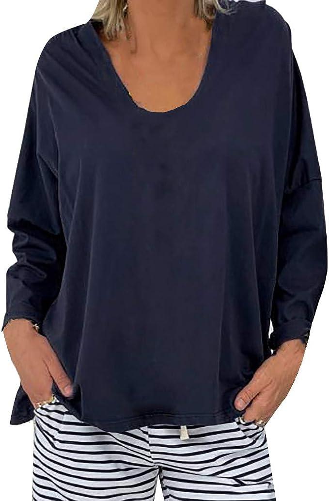 VEMOW Camisetas Mujer Blusa T-Shirt Talla Extra Sólido Manga Larga Cuello en V Sudaderas con Capucha Tapado Pull-Over Tops Camisa Parte Superior Otoño Abrigos De Mujer: Amazon.es: Ropa y accesorios