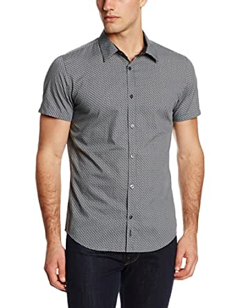 Calvin Klein Men's Micro Print Poplin Short Sleeve Woven Shirt, Black, Small