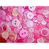 MIXED CANDY PINK BUTTONS ASSORTED SHAPES SIZES ART CRAFT SEWING CARD SCRAPBOOK MAKE