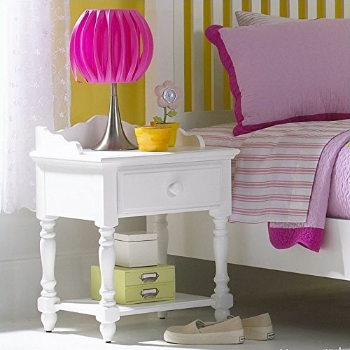 Kids traditional white nightstand with scalloped designs, features one drawer and a fixed bottom shelf by Hillsdale