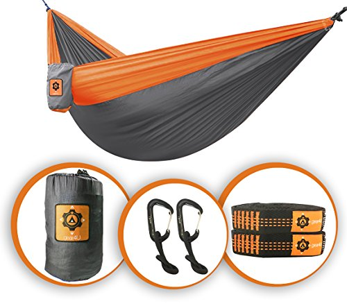 Gear4U: Two Person, Double Camping Hammock with Heavy Duty Tree Straps - Lightweight, Compact & Portable. Strong 210T Nylon Material Perfect for Backpacking, Camping, Travel, Beach or Yard.