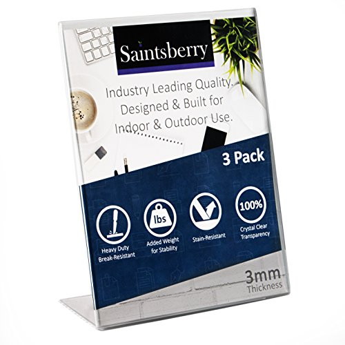 SUPER STRONG Saintsberry Acrylic Sign Holder 8.5 x 11 inches, 3mm Thick Break Resistant Heavy Duty Hard Plastic Slanted Back Design (PACK of 3) Pefrect for Indoor and Outdoor Use
