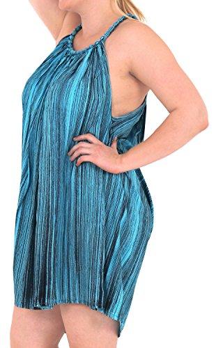 La Leela empate tinte beachwear de las mujeres rayón encubrir el traje de baño vestido caftán informal azul marino