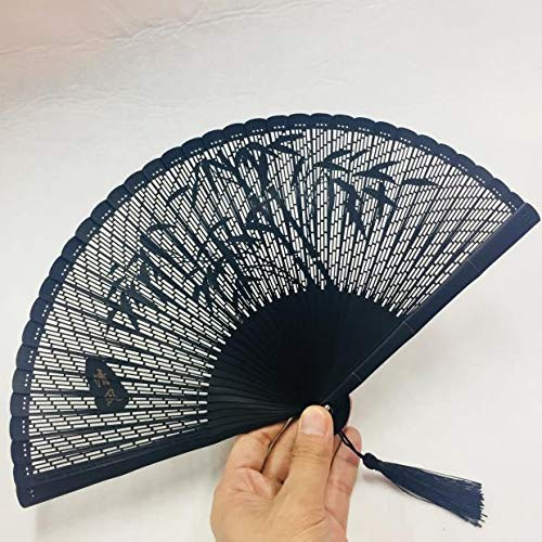 mqlerry Teapotty Craft Fan Vintage Hand Carved Bamboo Slub Bone Chinese Wind Folding Bamboo Pattern with Folded Fan,Onewall Decoration/Wedding Party Gift
