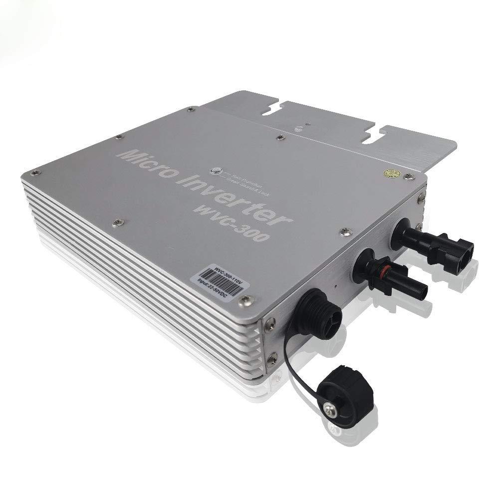Y&H 300W Grid Tie Inverter MPPT Waterproof Multiple Parallel Stacking DC22-50V Pure Sine Wave Inverter for 36V Solar Panel,Compatible with AC110V/120V Power Grid WVC-300W-110V