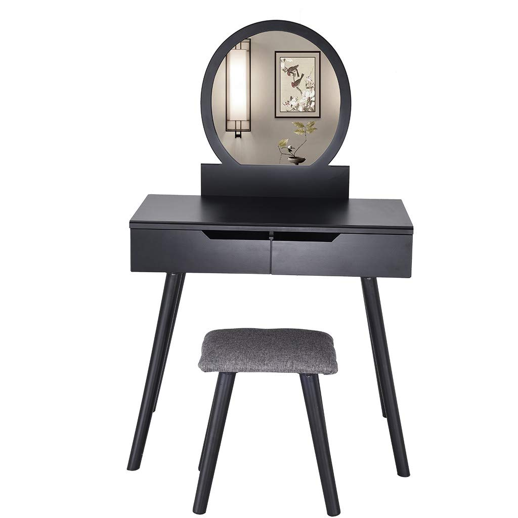 Vanity Set with Mirror Cushioned Stool Dressing Table Makeup Table Round Mirror 2 Large Sliding Drawers Makeup Dressing Table with Cushioned Stool Ship from US (Black) by IOTdou