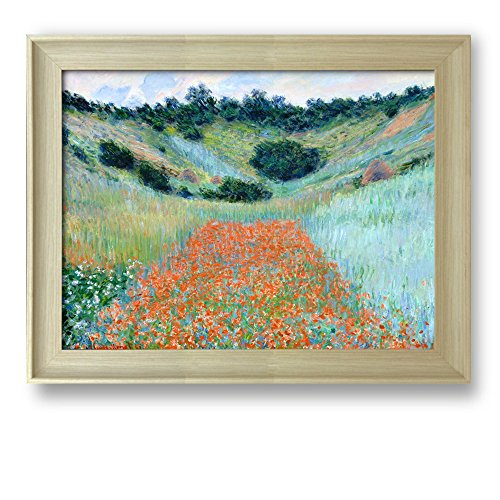 Poppy Field in a Hollow near Giverny by Claude Monet Framed Art Print Famous Painting Wall Decor Natural Wood Finish Frame