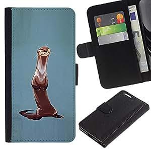 APlus Cases // Apple Iphone 6 PLUS 5.5 // Azul la nutria animal pintura naturaleza Pintura // Cuero PU Delgado caso Billetera cubierta Shell Armor Funda Case Cover Wallet Credit Card