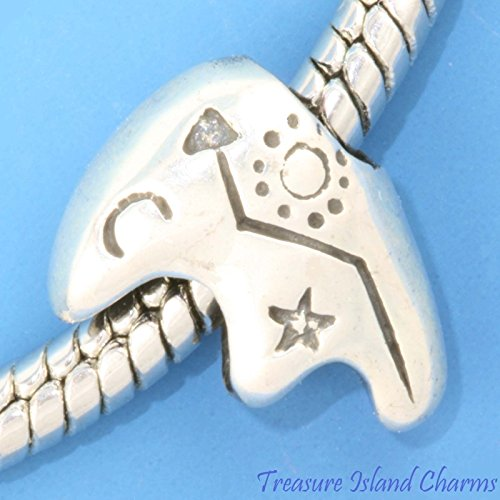 HEARTLINE NATIVE FETISH BEAR .925 Sterling Silver EUROPEAN Spacer Bead Charm Jewelry Making Supply Pendant Bracelet DIY Crafting by Wholesale Charms