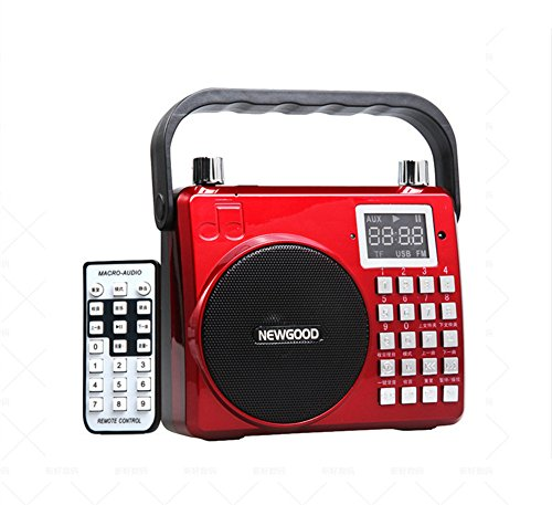 XIAOKOA Portable Voice Amplifier With Subwoofer, adjustable reverberation, loud sound, support Audio Input, Voice recorder, FM Radio, Microphone, SD/TF Card, USB, 8watt (F33) (red) - Battery Powered Digital Guitar Amp