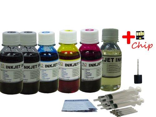 ND Brand Dinsink: 6X4oz (PK BK C M Y GO) dye refill ink f...