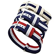 3pc 20mm Nato Ss Nylon Striped Blue /White,blue/white/red,navy Blue/coffee Replacement Watch Strap…