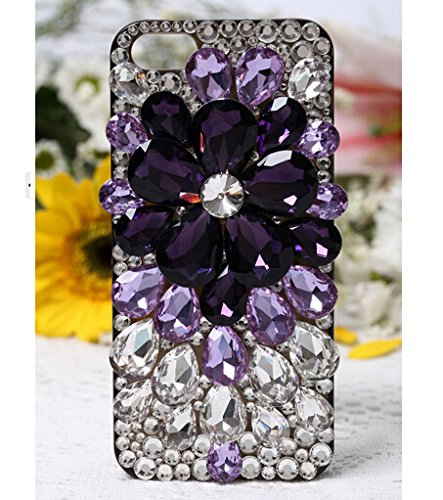 Black Sparkle Faceplate - LU2000 Galaxy S6 Case, Faceplate Shining Full Crystals Diamond Sparkle Bedazzled Jeweled Design [Grape Pattern] Black Cover with Phone Velvet Pouch for Samsung Galaxy S6 G9200 All Version - Purple