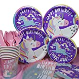 Unicorn Party Supplies for Unicorn Birthday Party-Girls Birthday,Unicorn Party Decorations and Party Favors,Tableware Serves 8,Unicorn Paper Plates,Unicorn Napkins, Unicorn Cups,Comes With Matching Cutlery and Table Cover