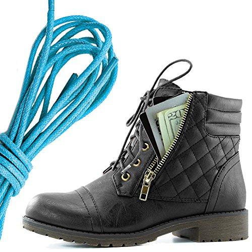 Dailyshoes Kvinners Militære Snøring Spenne Combat Boots Ankelen Høyt Eksklusivt Kredittkort Lomme, Blå Svart Pu